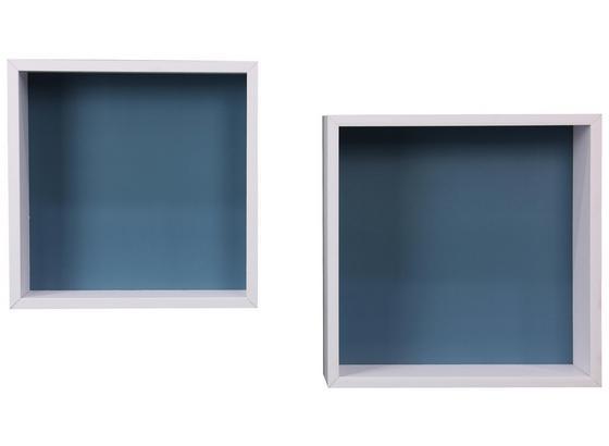 Nástenný Regál Sally B422039-16 - modrá/biela, Moderný, kompozitné drevo (30/30/12cm)
