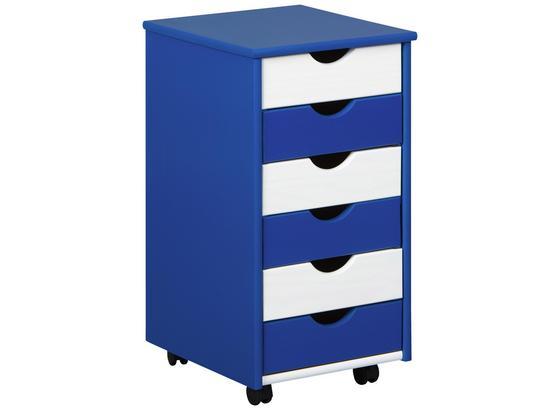 Rollcontainer Beppo B: 35 cm Kiefer Massiv - Blau/Weiß, Basics, Holz/Kunststoff (35/65/40cm)
