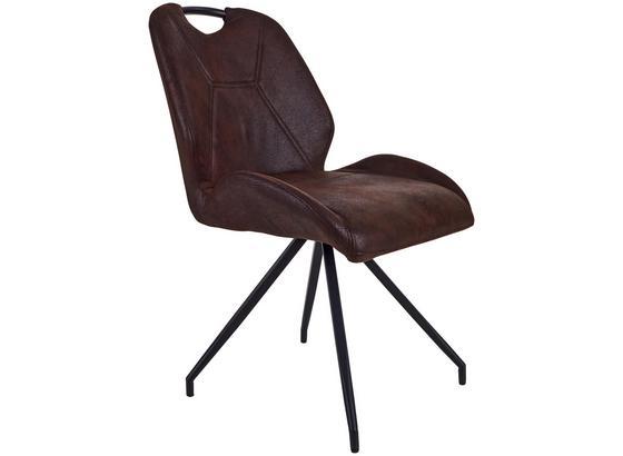 Stolička Caren - hnedá/čierna, Moderný, kov/textil (50/86/61cm)