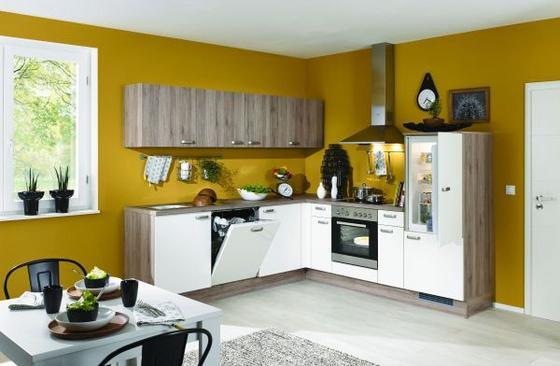 Rohová Kuchyň Pn 80/100 - bílá/červená, kompozitní dřevo (245/245cm) - Pino