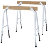 Unterstellbock 2er Set Höhenverstellbar - Weiß/Kieferfarben, Basics, Holz/Metall (7,5/78cm)