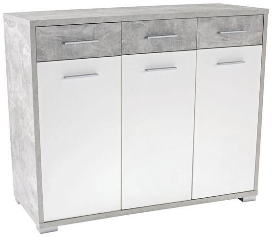 Komoda Q-big New Qbk01 - sivá/biela, Moderný, drevo (144/105/44cm)