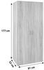 Kleiderschrank Base2 B:81cm Eiche Sonoma Nachbildung - Eichefarben, KONVENTIONELL, Holzwerkstoff (80/177/52cm)