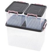 Aufbewahrungsboxen-Set Lia - Transparent/Rosa, Kunststoff - Homezone