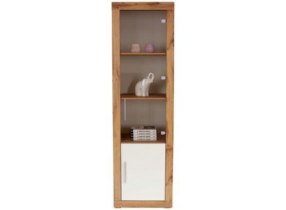 Vitrína Frame - bílá/barvy dubu, Konvenční, kompozitní dřevo/sklo (56/200/42cm)