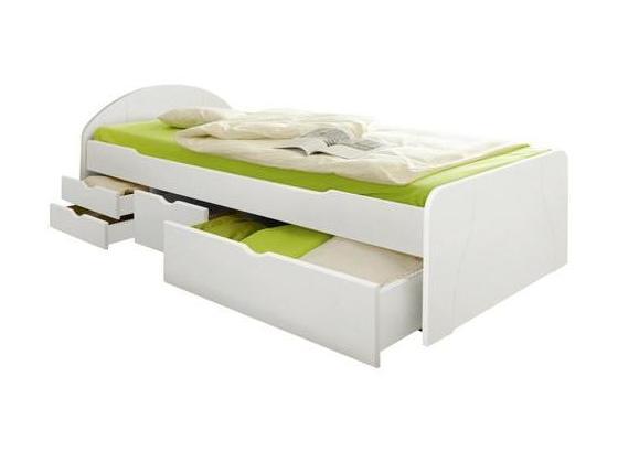 Stauraumbett Erna 90x200 cm Weiß - Weiß, Basics, Holz (90/200cm) - Livetastic