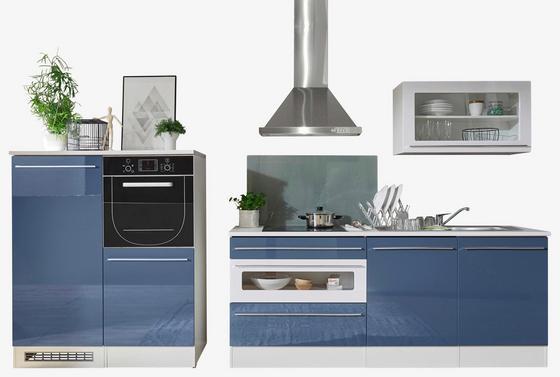 Küchenleerblock Welcome Jazz 200cm Weiß/blau - Blau/Weiß, MODERN, Holzwerkstoff (200+120  cm)