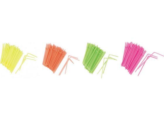 Slámka 225 Stk. 'funky' - oranžová/pink, Konvenční, umělá hmota (21cm)
