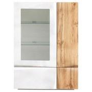 Komoda Highboard Cut - farby dubu/biela, Moderný, drevený materiál/sklo (90/131/42cm) - Modern Living