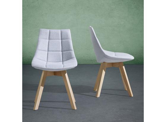Židle Cleo - světle šedá/barvy buku, Moderní, dřevo/textilie (48/80/42cm) - Mömax modern living