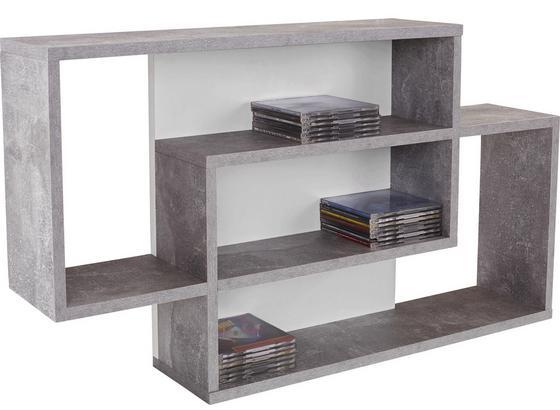 Regál Nástěnný Dream - šedá/bílá, Moderní, kompozitní dřevo (90/48/16cm)
