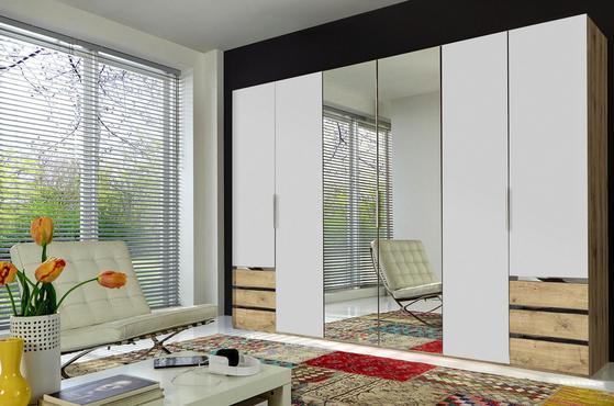 Sechstüriger Kleiderschrank in Weiß und Eiche Dekor mit Schubladen und Spiegel