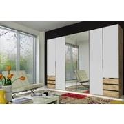Drehtürenschrank mit Spiegel + Laden 300cm Level 36a, Weiß - Eichefarben/Weiß, MODERN, Glas/Holzwerkstoff (300/216/58cm)