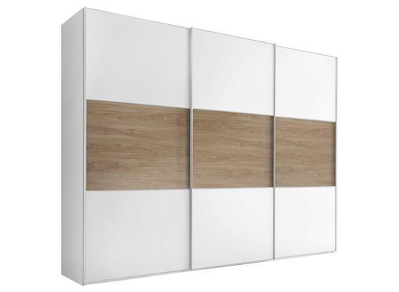 Schwebetürenschrank 298 cm Includo, Weiß - Eichefarben/Weiß, MODERN, Holzwerkstoff (298/222/68cm) - Bessagi Home