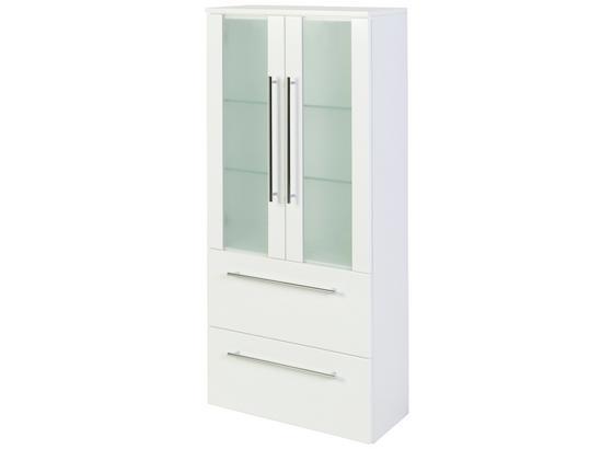 Midischrank Mailand 60 cm Weiß - Weiß, MODERN, Glas/Holzwerkstoff (60/128/27cm)