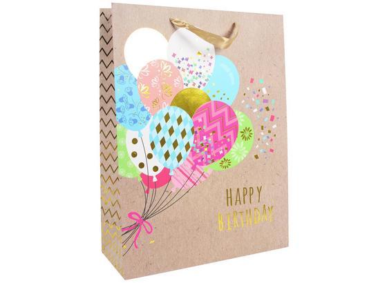 Geschenktasche Happy Birthday L - Multicolor, Basics, Karton (40/30/12cm)