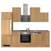 Küchenblock Nano 280cm Buche - Edelstahlfarben/Buchefarben, MODERN, Holzwerkstoff (280/60cm)