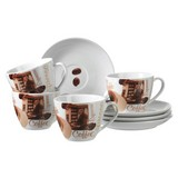 Cappuccinotasse mit Untertasse Latte Macchiato 4-Tlg - Braun/Weiß, Basics, Keramik (21,6/20,6/18,5cm)