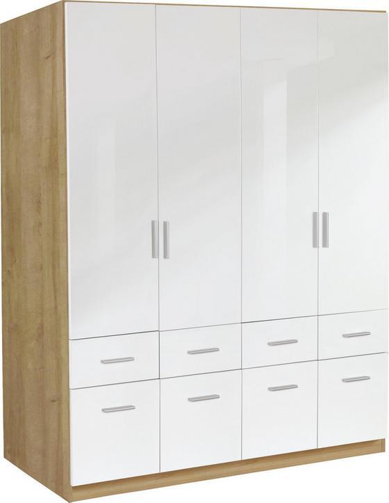 Kleiderschrank Celle, 4-türig - Eichefarben/Weiß, MODERN, Holz (181/197/54cm)