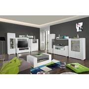 Vitrína Toronto - bílá/světle šedá, Moderní, dřevěný materiál/sklo (100/146/42,2cm) - Ombra