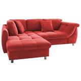 Ecksofa mit Schlaffunktion + Zierkissen Agira, Mikrofaser - Chromfarben/Rot, Design, Textil (190/250cm) - Livetastic