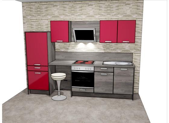 Küchenblock Pn100/Pn270 B: 287 cm - Eichefarben/Rot, Design, Holzwerkstoff (287cm) - Pino