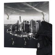 Wandgarderobe City B: ca. 60cm Schwarz/Weiß - Schwarz/Weiß, Basics, Holzwerkstoff/Metall (60/60/8cm)