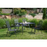 Gartentisch Toulouse - Schwarz/Grau, MODERN, Kunststoff/Metall (140/74/90cm) - OMBRA
