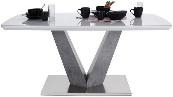 Moderner Esstisch in Weiß Hochglanz mit eleganter Standsäule in Betonoptik