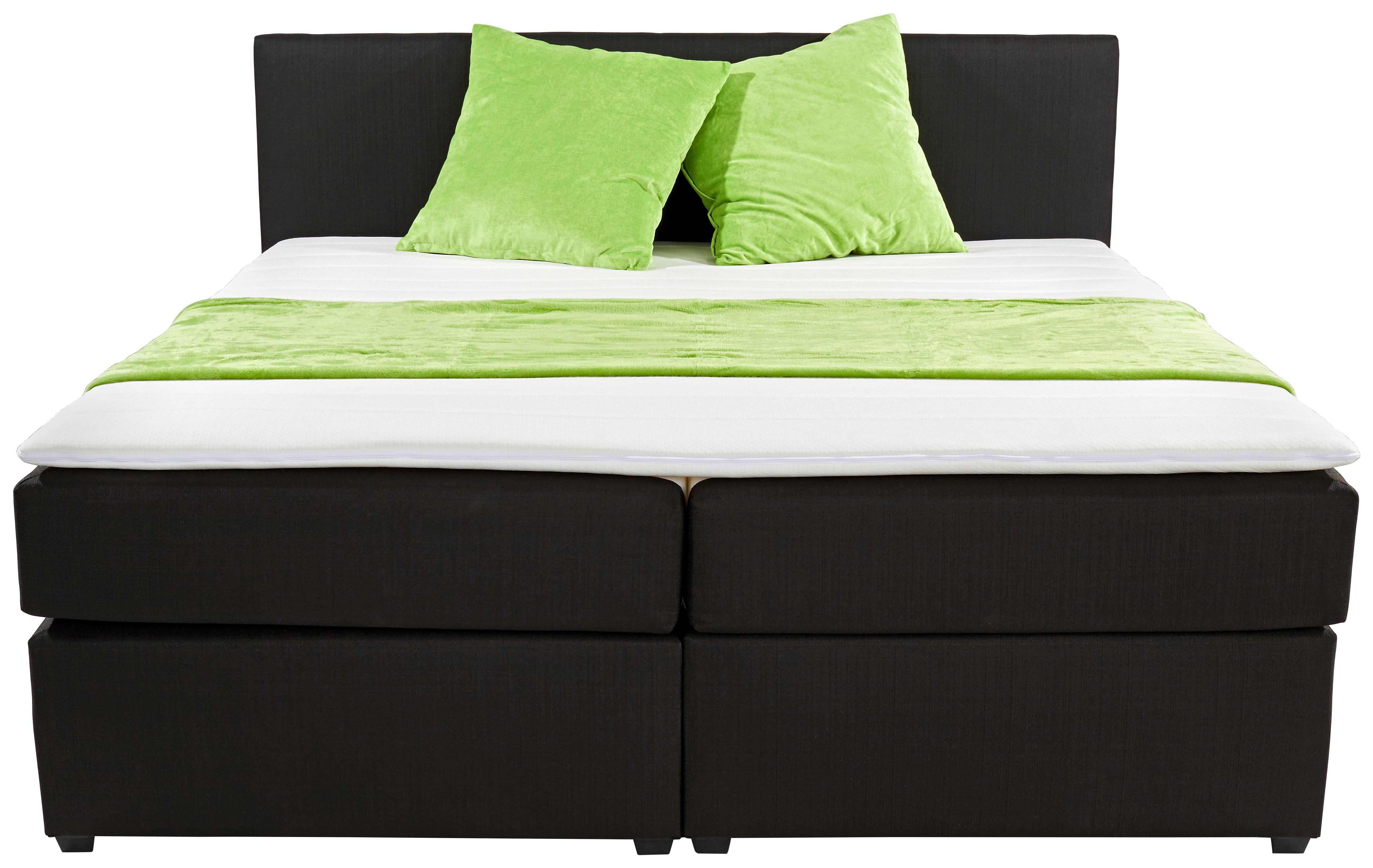 Boxspring Ágy Titania - fekete, konvencionális, textil (180/200cm)