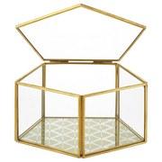 Dekoračný Box Adriana, 15,5/15/8 Cm - zlatá/číre, kov/sklo (15,5cm) - Modern Living