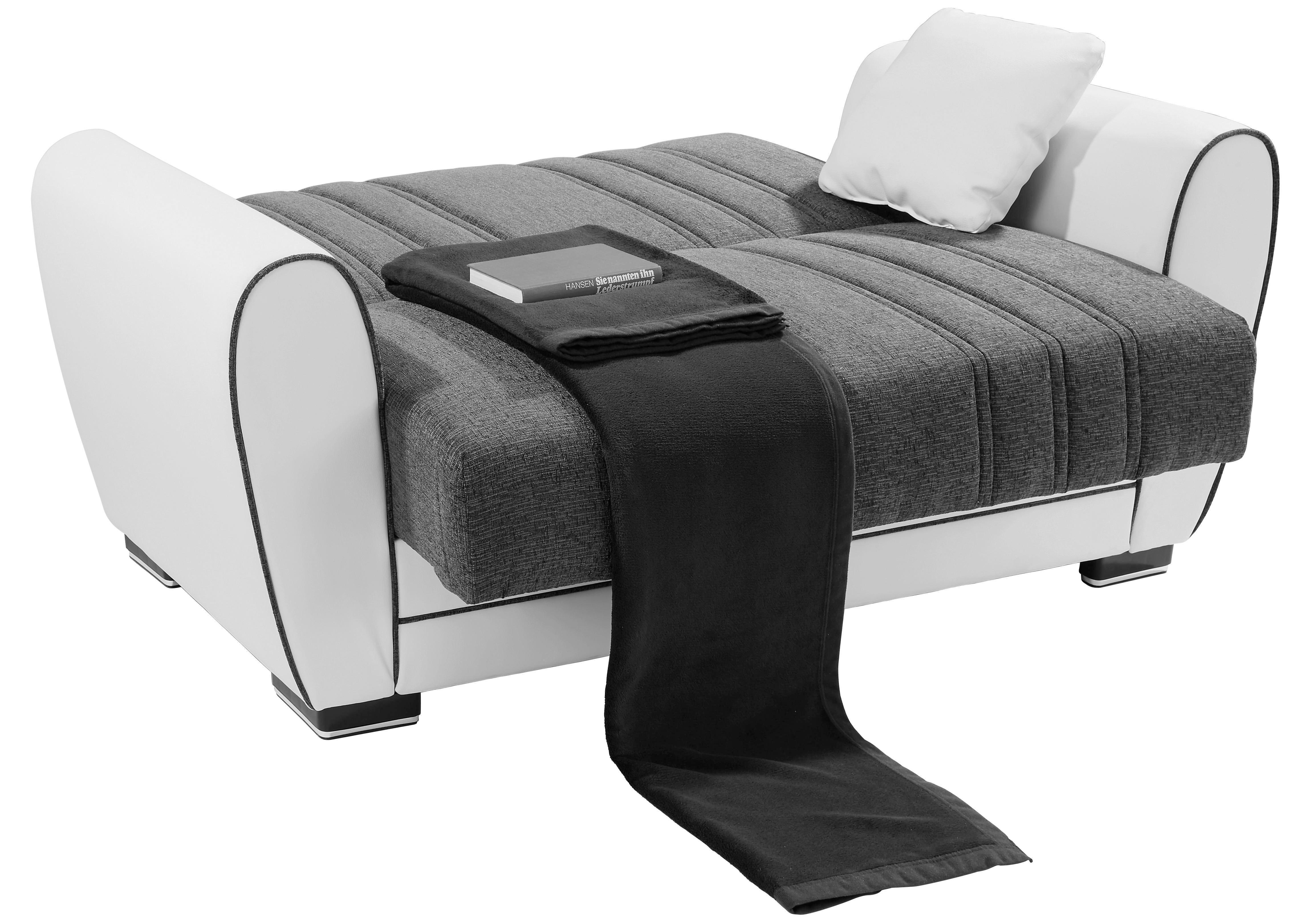 Dvoumístná Pohovka Pelin - bílá/šedá, Moderní, textil/dřevěný materiál (162/85/90cm)