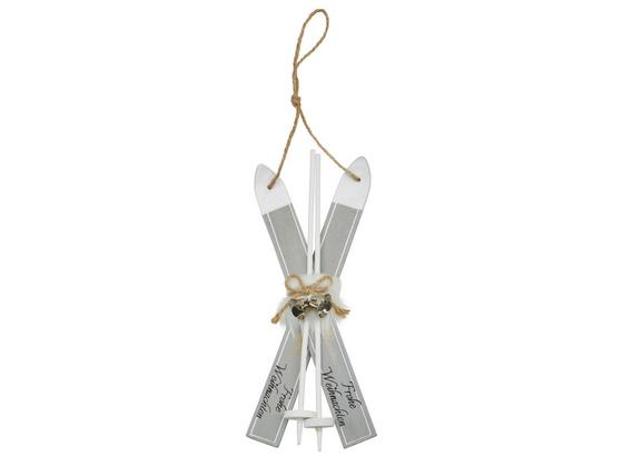 Dekohänger Silke - Weiß/Grau, KONVENTIONELL, Holz/Textil (21cm) - Ombra