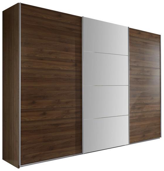 Schwebetürenschrank Ernie 270 cm  Nussbaum Dekor - Nussbaumfarben, MODERN, Glas/Holzwerkstoff (270/210/65cm)