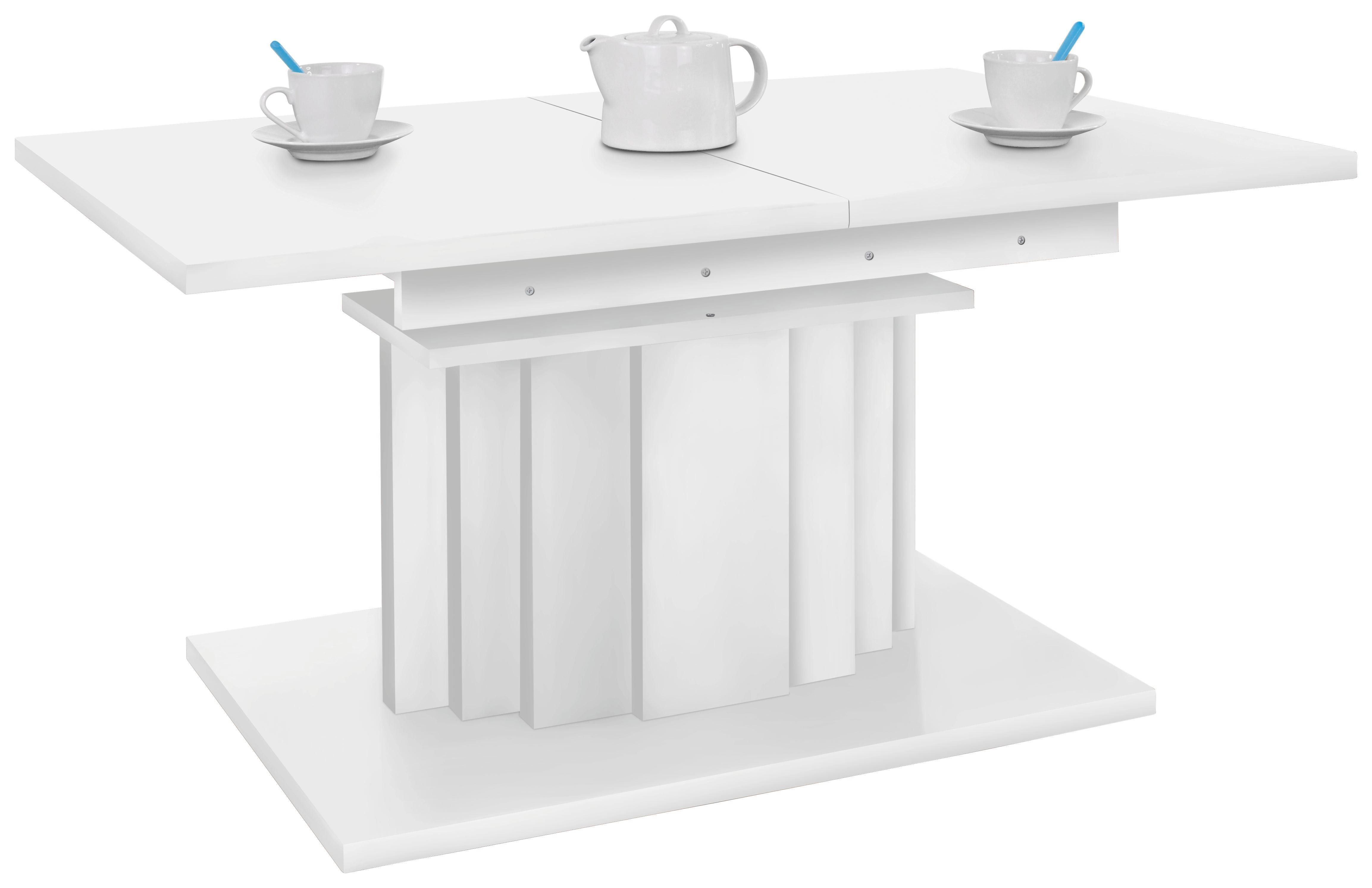 Dohányzóasztal Pretoria - fehér, konvencionális, fa (110-150/55-75/70cm)