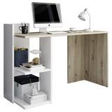 Schreibtisch mit Ablagefächer B 120cm Paco, Eiche/Weiß - Eichefarben/Weiß, Basics, Holzwerkstoff (120/51,6/87,5cm) - P & B