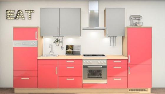 Küchenblock Wilma 333 cm Eiche San Remo/rot/Grau - Eichefarben/Rot, MODERN, Holzwerkstoff (333,2cm) - Vertico