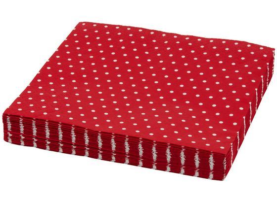 Ubrousek Mini Dots - bílá/červená, papír (33/33cm)