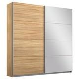 Schwebetürenschrank Belluno B:181cm Eiche Dekor/ Spiegel - Sonoma Eiche, MODERN, Holzwerkstoff (181/230/62cm)
