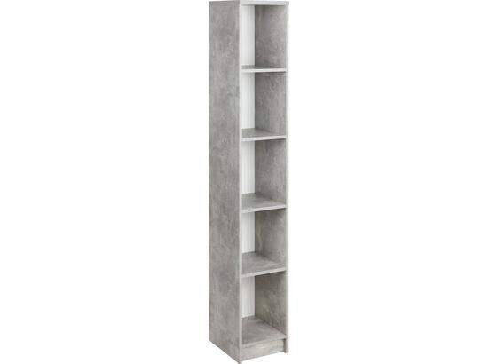 Regál 4-you New Yur06 - šedá/bílá, Moderní, kompozitní dřevo (30/189,5/34,6cm)