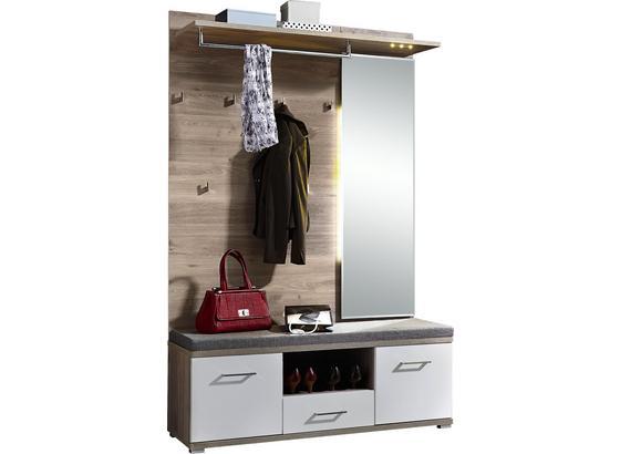 Šatna Plus - bílá/barvy stříbrného dubu, Moderní, dřevo (131/199/39cm) - Premium Living