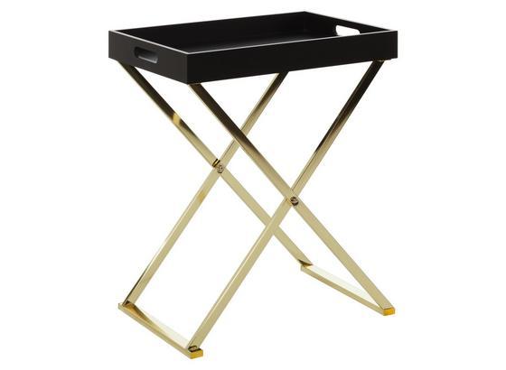 Beistelltisch mit Abnehmbarer Tischplatte Nina, Schwarz/Gold - Goldfarben/Schwarz, Design, Holzwerkstoff/Metall (48/61/34cm) - Livetastic