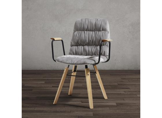 Stolička S Podrúčkami Jan - svetlosivá/farby buku, Moderný, drevo/textil (65/59/86cm) - Modern Living