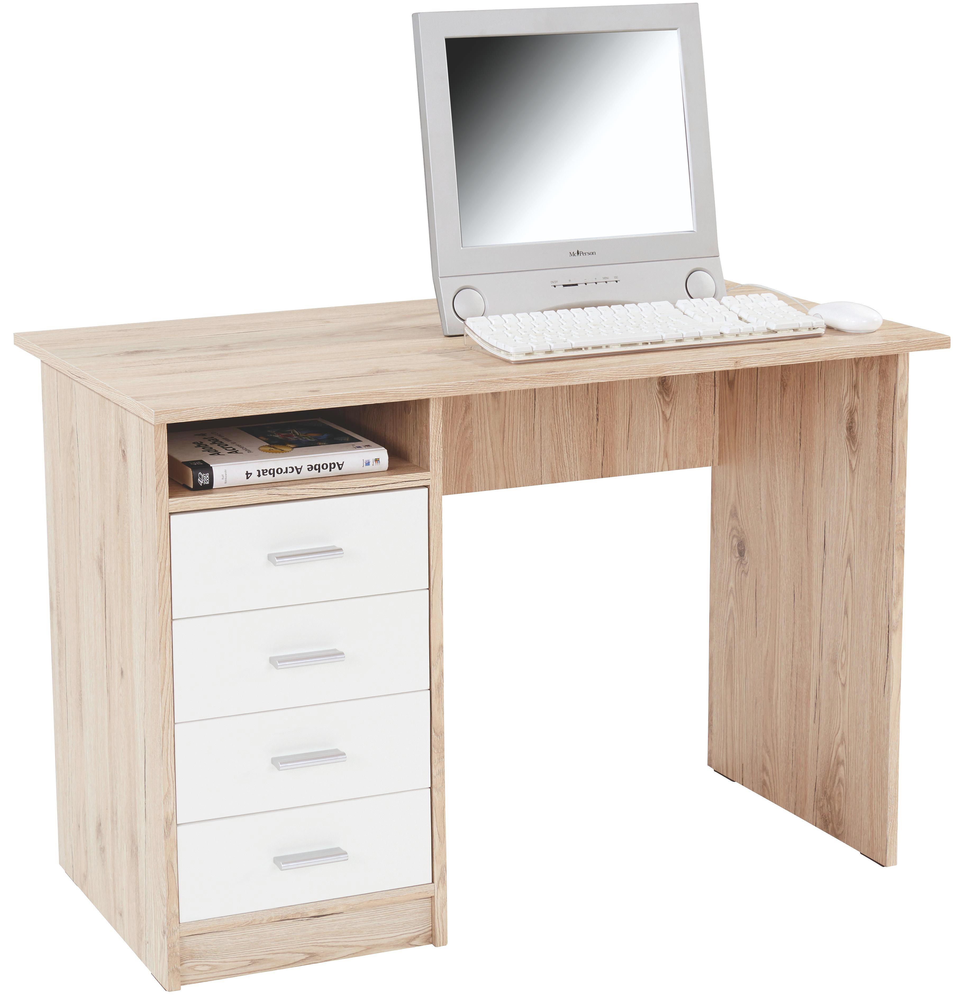 Íróasztal Verona - tölgy színű/fehér, modern, faanyagok (105/74/50,5cm)