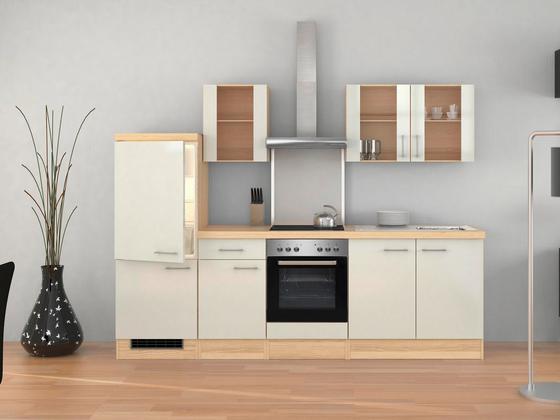 Küchenblock Abaco 270cm Permutt - Edelstahlfarben/Perlmutt, MODERN, Holzwerkstoff (270/60cm)