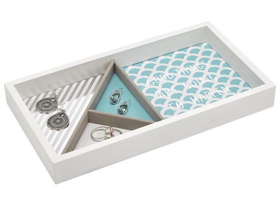 Šperkovnice Kai - bílá/modrá, kompozitní dřevo (29,1/15,9/4cm) - Mömax modern living
