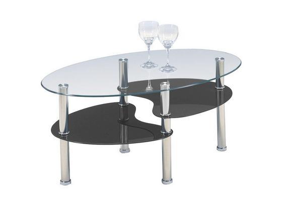 Couchtisch Glas Oval mit Ablageflächen Saba, Schwarz - Klar/Schwarz, KONVENTIONELL, Glas/Metall (90/45/55cm)