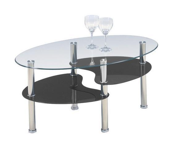 Dohányzóasztal Saba - Átlátszó/Fekete, konvencionális, Üveg/Fém (90/45/55cm)