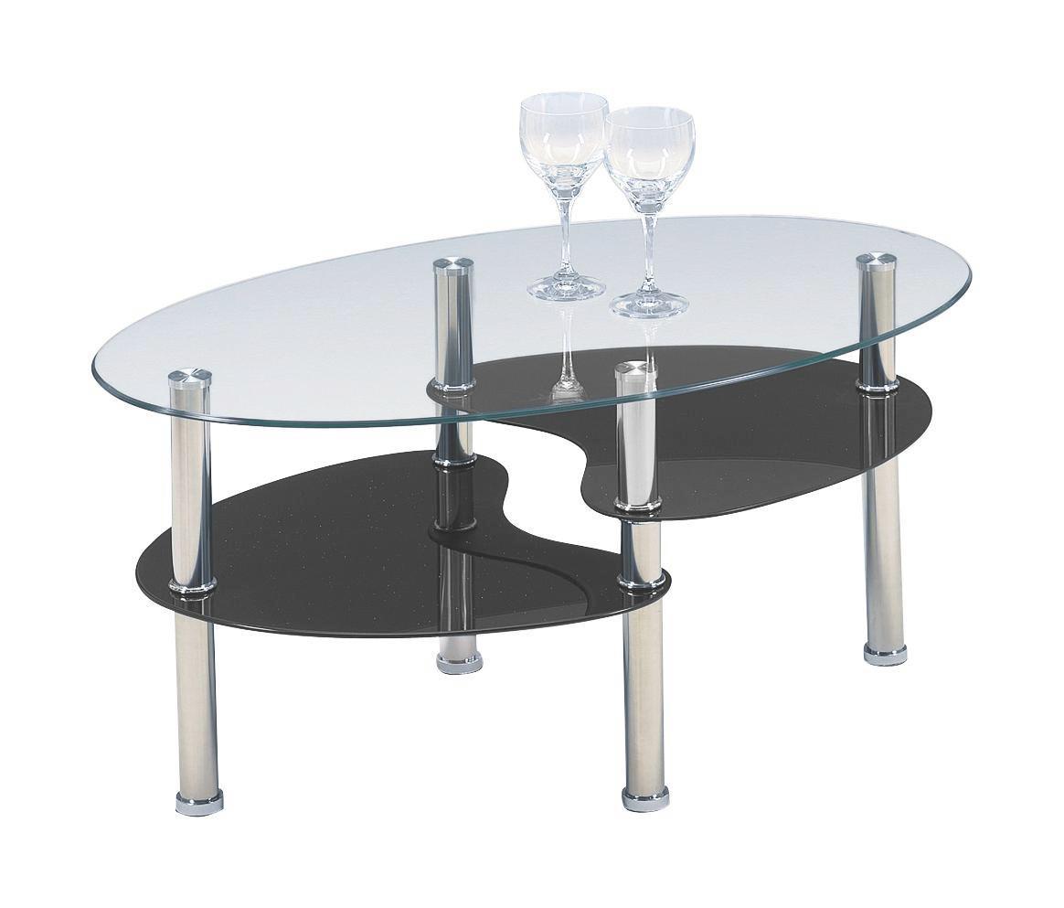 Konferenční Stolek Saba - černá/čiré, Konvenční, kov/sklo (90/45/55cm)