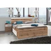 Bett inkl. Laden + Led 180x200 Mars, Weiß/Wildeiche - Eichefarben/Weiß, MODERN, Holzwerkstoff (180/200cm)
